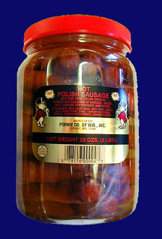 Porkies Hot Polish Sausage in the Jar!